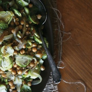 Brussels Sprouts with Chickpeas & Caramelized Onions