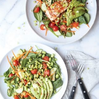 Edamame/ Wild Salmon Spinach Salad with Balsamic Miso Glaze