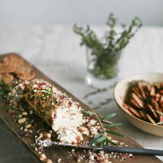 Cranberry Rosemary Crusted Cashew Cheese Log