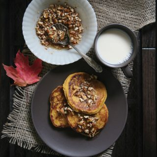 Vegan Pumpkin Pancakes with Maple-Caramel Roasted Nuts