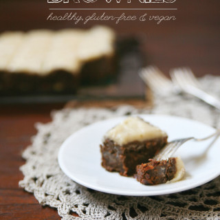 Carrot Cake Brownies with Vegan Cream Cheese Frosting