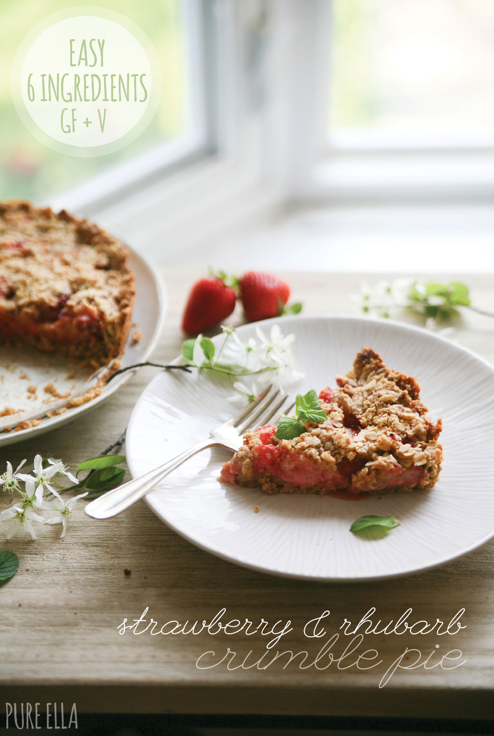 Strawberry & Rhubarb Gluten-free Crumble Pie - Pure Ella