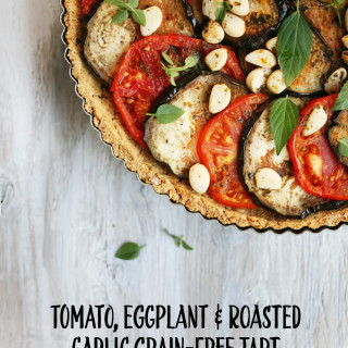 Tomato, Eggplant and Roasted Garlic Falafel Crust Tart