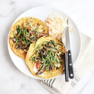 Vegan Gluten Free Crepes with Balsamic Glazed Portabellos