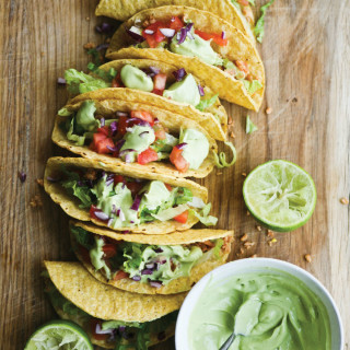 Veggie Protein Tacos with Avocado Lime Cream