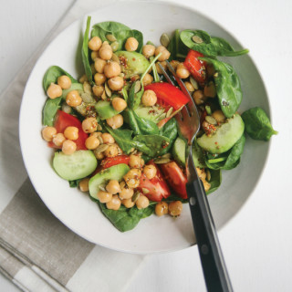 Baby Spinach + Chickpea Salad with zesty Grey Poupon Pumpkin Oil dressing