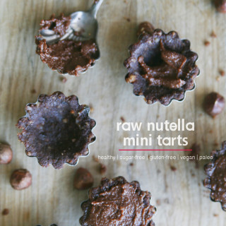 Sugar-free Raw Nutella Mini Tarts : healthy, no-bake, gluten-free, vegan, paleo