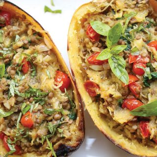 Spaghetti Squash Recipe with Green Lentils