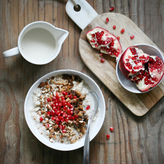 Chia Oatmeal with Nuts, Figs & Pomegranate