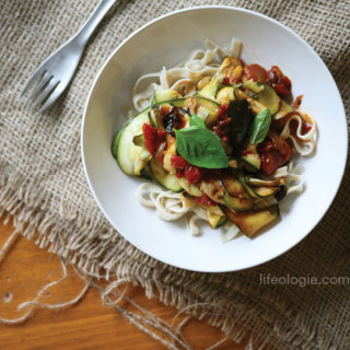 Linguini with Rustic Oven Roasted Tomatoes and Zucchini