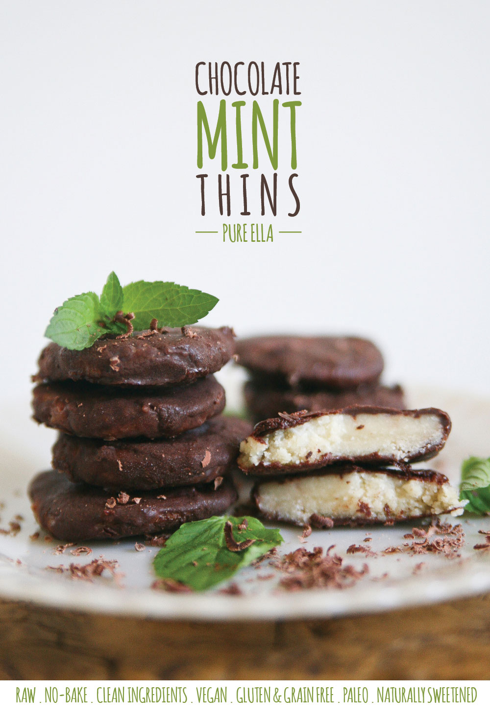 Raw, No-bake Dark Chocolate Mint Thins - Pure Ella