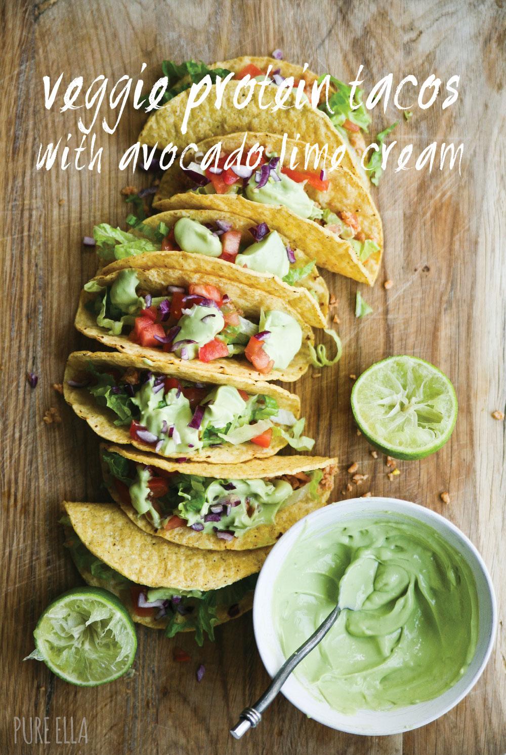 Veggie Protein Tacos with Avocado Lime Cream