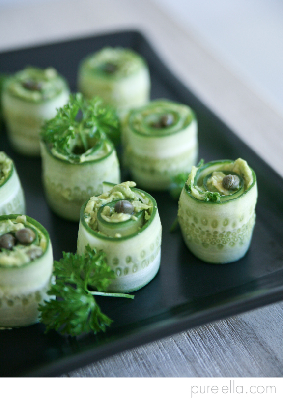 Healthy avocado cucumber rolls appetizers for Gluten free canape ideas