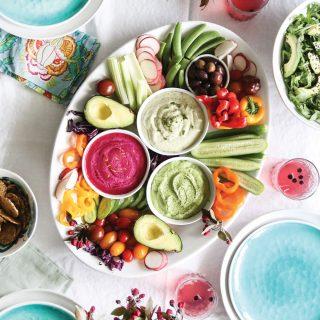 Veggie Platter with 3 Hummus Recipes