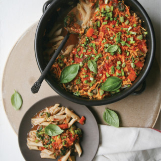 Sprouted Lentil Penne Casserole with Bobby's All Purpose Seasoning
