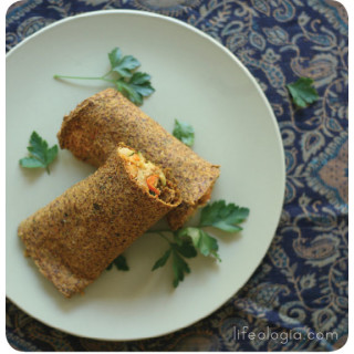 indian spiced raw flatbread wraps with chickpea filling
